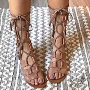 Free People Mesa Gladiator Sandals 37 Leather Tan